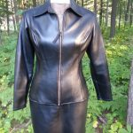 Black Faux Leather Collared Zip Front Jacket with Short Side Zip Skirt Front View