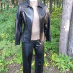 Black Faux Leather Collared Zip Front Jacket with Straight Leg Pant Front View