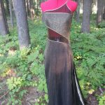 Black & Gold Lame One Shoulder Gown Front View