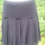 Black Mesh Godet Dance Skirt Front View