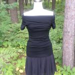 Black Ruched Jersey Full Front View