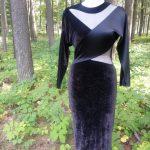 Black Velvet & Satin Peek a Boo Dress Front View