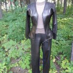 Brown Faux Leather Zip Front Jacket and Straight Leg Pants Front View