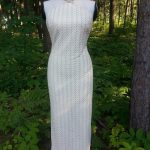 Cream & Gold Lace Halter Gown with Oval Train Front View